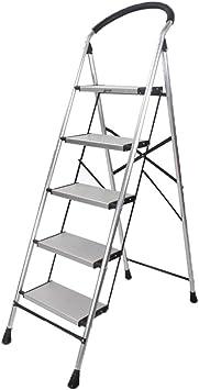 Casa Escalera de metal, oficina Sala de estar Escalera Cocina Almacén Escalera plegable Escalera de cinco pasos Engrosado (Size : 50 * 91 * 161CM): Amazon.es: Bricolaje y herramientas