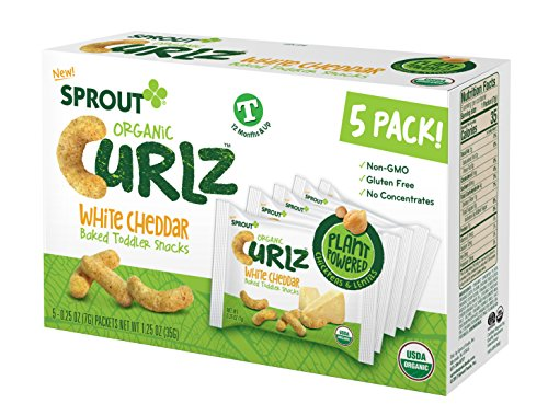 Sprout Organic Baby Food, Sprout Organic Curlz Toddler Snacks, White Chedder, 5 ct. On the Go packaging (5 individual packs), Plant Powered, Gluten Free, USDA Certified Organic, Nothing Artificial