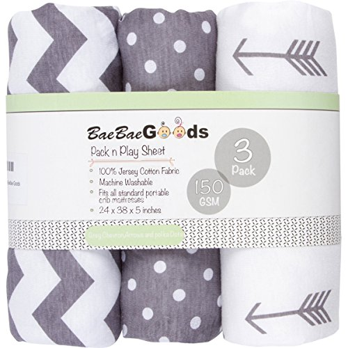 BaeBae Goods Jersey Cotton Fitted Pack n Play Playard Portable Crib Sheets Set | Grey and White | 150 GSM | 100% Cotton | 3 Pack (Play Yard Portable Mattress)