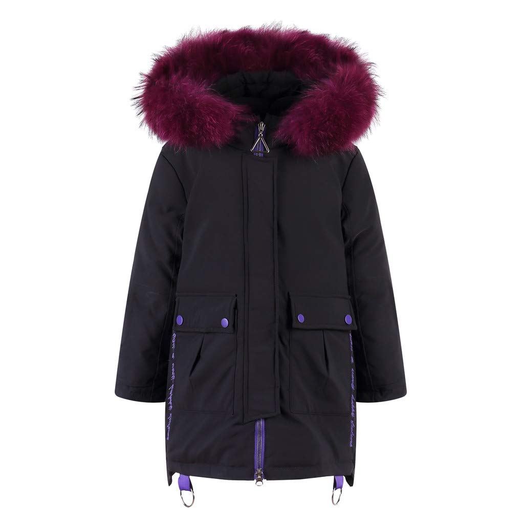 Holata Girl Winter Jacket Kids Winter Faux Hooded Down Coat Jacket Padded Overcoat Solid Color Warm Cotton Clothing Black by Holata-coat