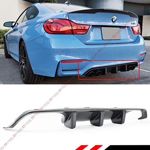 Fits for 2015-2019 BMW F82 F83 M4 Performance Style Big Fin Carbon Fiber Rear Bumper Diffuser Valance (Carbon Rear Diffuser)