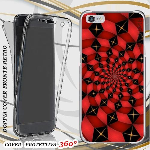 CUSTODIA COVER CASE RED CHESS PER IPHONE 6 FRONT BACK