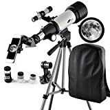 Telescope 70mm Apeture 400mm AZ Telescope - Travel Scope for Kids and Beginners to View Moon and Planet With Tripod and 10mm Eyepiece Smartphone Adapter
