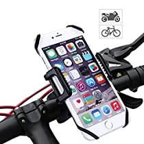 Bicycle Phone holder - LEMEGO Universal Bicycle & Motorcycle Mount 360 Degrees Rotatable Cradle Clamp Bike Cellphone Cycling stamp Made for IOS iPhone Samsung Android GPS Rubber Strap Fit AnySmartphone