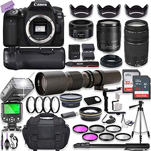 Canon EOS 90D DSLR Camera w/ 18-135mm Lens Bundle + Canon 75-300mm III Lens, Canon 50mm f/1.8 & 500mm Preset Lens + Case + 96GB Memory + Battery Grip + Speedlight Flash + Professional Bundle
