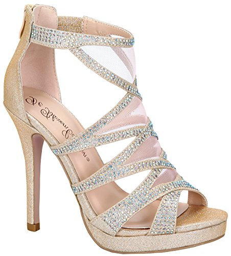 De Blossom Collection Women's Rhinestone and Mesh Shimmer Strappy Cage High Heel Platform Sandal Nude 10 (High Heel Platform Cage)