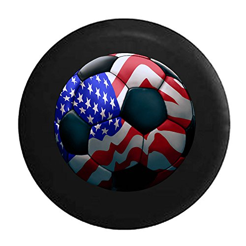American Flag Soccer Ball Futbol Tire Cover Black 33 in