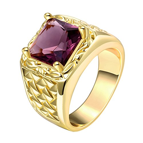 14mm Men's Fashion Squares Rings with Cubic Zirconia Ruby -Yellow - Garnet Fashion Ring Cut