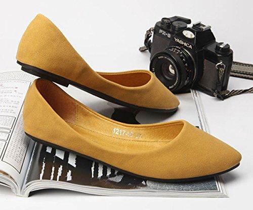 Pianura & Pianura Donna In Finta Pelle Scamosciata Punta A Punta Dietro Schienale Piano Morbido Slip On Baller Flats Shoes Yellow