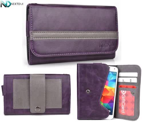 Blu Life One L120 Phone Wallet with Belt Attachment {Dark Plum Purple Gunmetal Gray} with Credit Card Holder