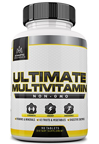 Multivitamins Bodybuilding - Athletic Mechanics - Ultimate Multivitamin - Non-GMO Comprehensive Multivitamin + Minerals + 42 Fruits & Vegetables + Digestive Enzymes + Herbs. Increases Strength, Energy, and Endurance. 90 Tablets.