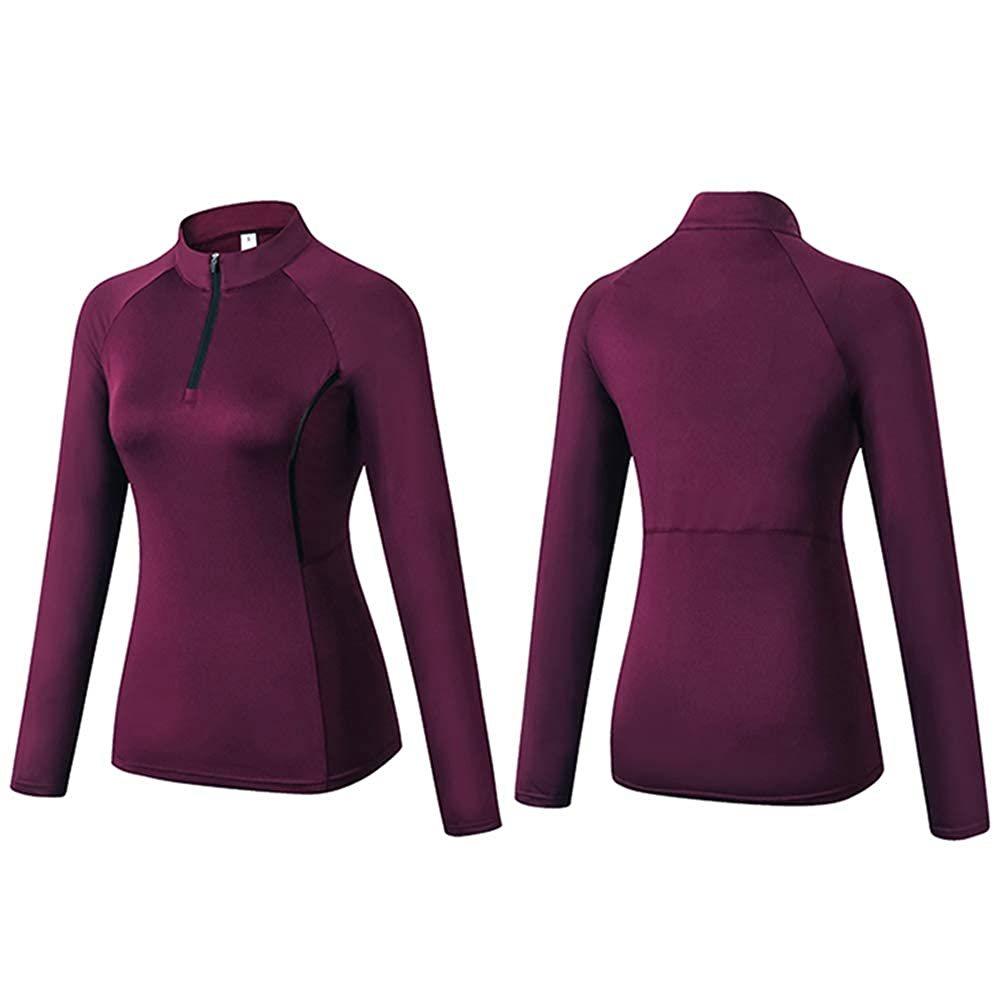 Womens Running Shirt 1//4 Zip Pullover Wick Yoga Jacket with Thumb Hole