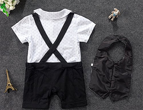 Stylesilove Infant Toddler Young Kids Baby Boy Star Print Tuxedo Romper and Bib-Style Vest 2-pc Suit Set