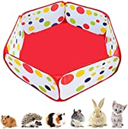 Portable Small Animals Playpen, Outdoor/Indoor Pop Open Pet Exercise Fence, Guinea Pig Accessories Metal Wire