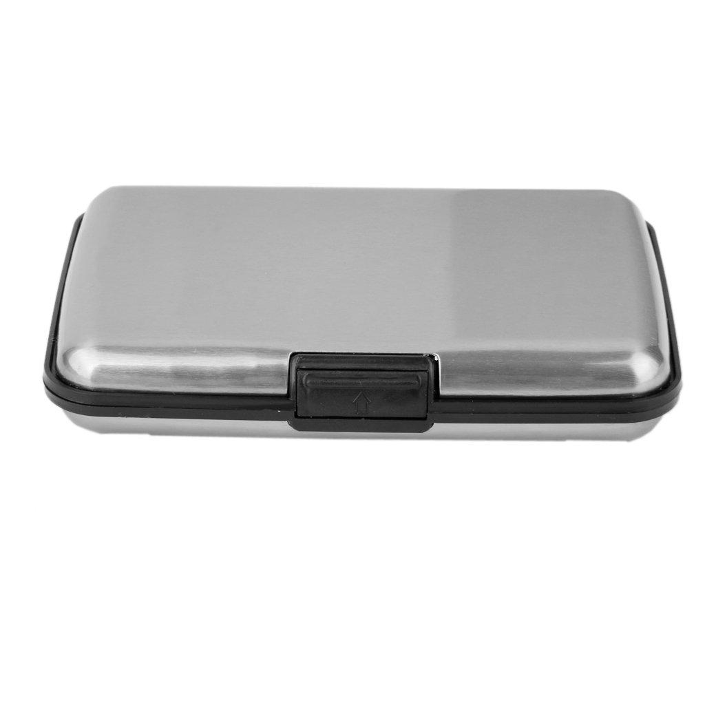 Gris Argent/é Mini Porte Carte de Cr/édit Etui en Aluminium Etanche pour Carte dIdentit/é