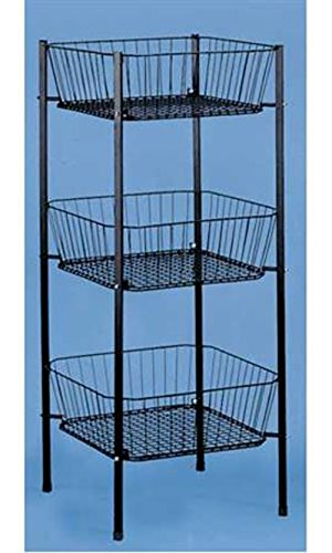 3-tier Square Black Wire Dump Bin with Three Baskets - 46 1/2 Inch Height by Basket