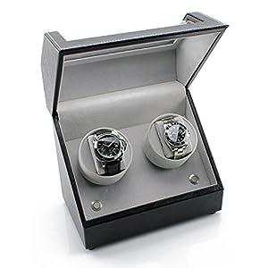 Heiden Battery Powered Double Watch Winder in Black Leather