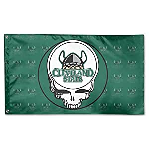 Cleveland Estado Vikings Universidad Greatful Head Logo bandera de Jardín 3 'x 5'