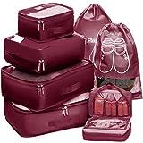 Packing Cubes Travel Set 7Pc 2 Large Cube Organizer Laundry Shoe & Toiletry Bag (Burgundy)