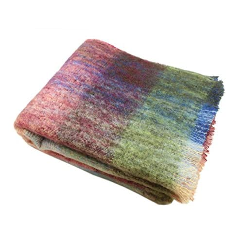 "Discount John Hanly Multicolor Throw Blanket Mohair 54"" x 72"" Made in Ireland free shipping"