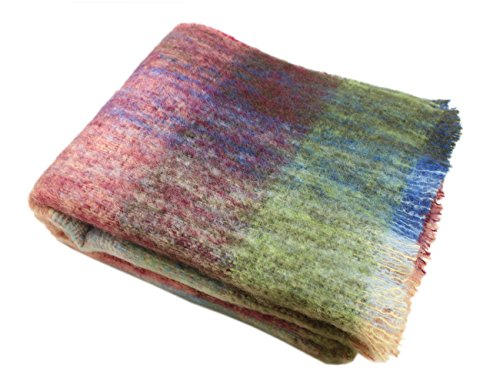 "Mohair Wool Throw - John Hanly Irish Throw Blanket Mohair 54"" x 72"" Multicolor Mohair Irish Made"