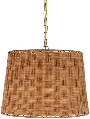 Upgradelights Wicker Rattan Swag Lamp Lighting Fixture Hanging Plug-in Light 14x16x11.75