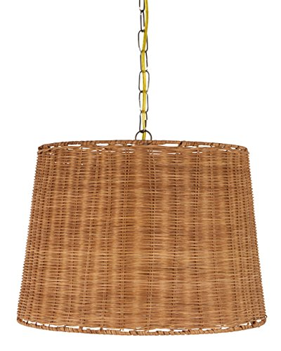 Upgradelights Wicker Rattan Swag Lamp Lighting Fixture Hanging Plug-in Light