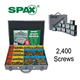 SPAX Xpert Wood Screws 2400 Assorted Screws in Metal Organiser Case