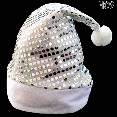 [Chige Christmas Hat for Children and Adults, Non-woven New Hats for Celebrations and Recreation Photography Props for Party, Christmas, Gifts (Silver sequins)] (Jolly Green Santa's Helper Christmas Costumes)