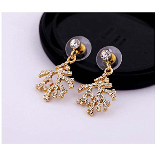 Elakaka Women's Alloy Drill Christmas Tree Temale Models Earrings(Sliver)