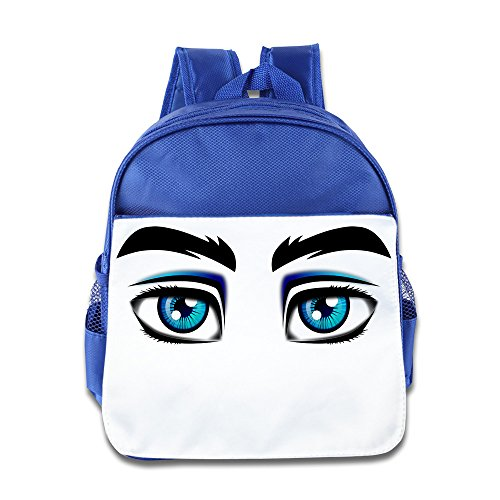 XJBD Custom Funny Angry Eyes Boys And Girls School Bag Backpack For 1-6 Years Old RoyalBlue