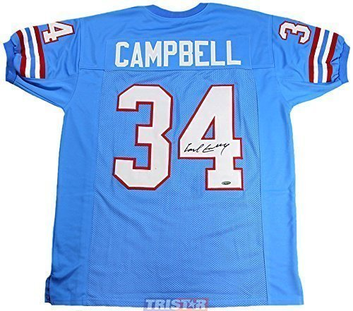 Earl Campbell Signed Autographed Houston Oilers Custom Blue Jersey TRISTAR COA - Hand Signed Houston Oilers