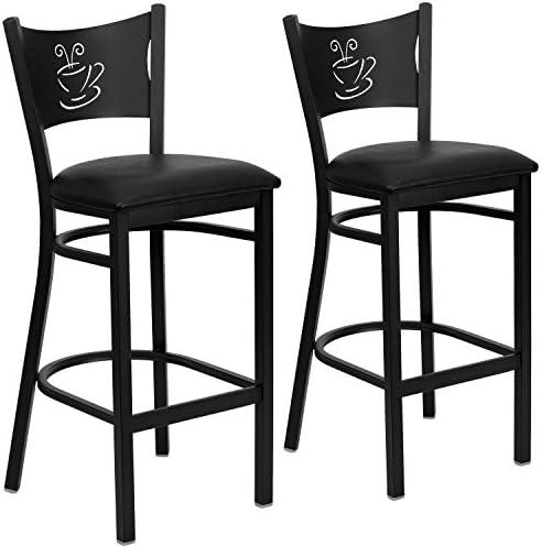 Flash Furniture 2 Pk. HERCULES Series Black Coffee Back Metal Restaurant Barstool – Black Vinyl Seat