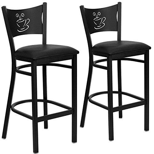 Flash Furniture 2 Pk. HERCULES Series Black Coffee Back Metal Restaurant Barstool - Black Vinyl Seat -