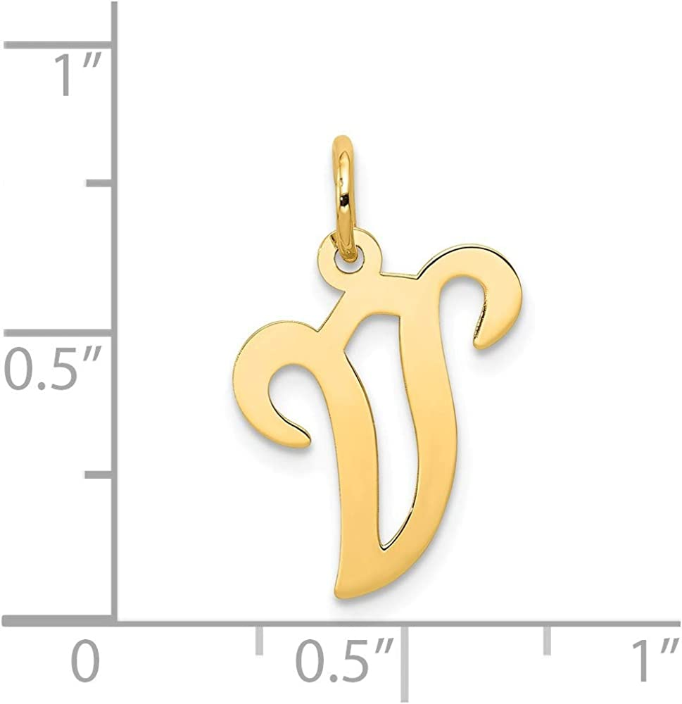 14K Yellow Gold Charm Pendant Themed 20 mm 11 Initial V
