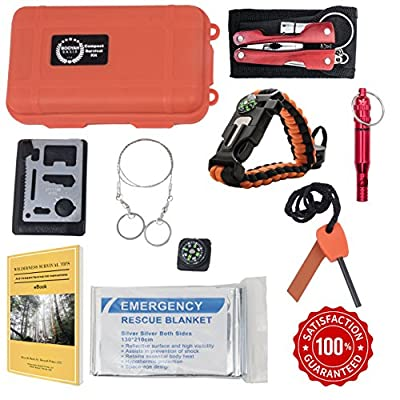 11 Items Compact Emergency Survival Kit. Multi-Purpose Outdoor Everyday Portable Survival Gear for Camping Traveling Hiking Biking Climbing Hunting Lightweight Inexpensive Ultra Compact