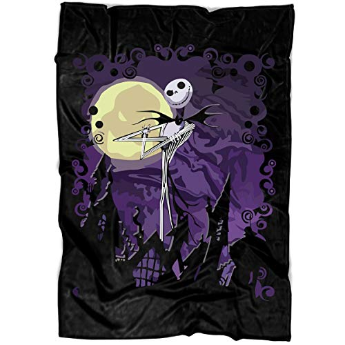 LEXIGSTORE Jack Skellington Soft Fleece Throw Blanket, The Nightmare Before Christmas Fleece Luxury Blanket (Large Blanket (80