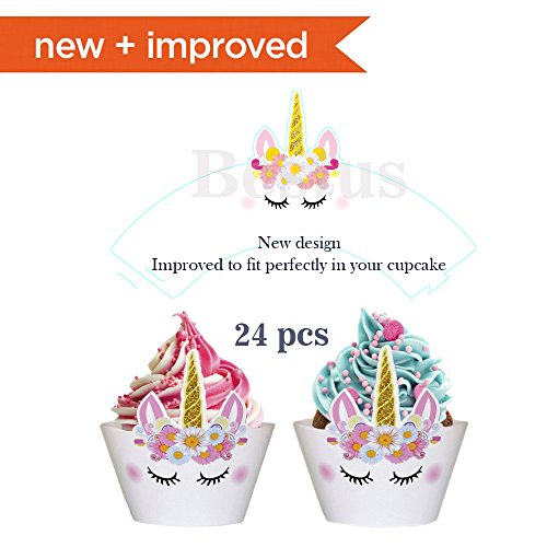 Bestus (29 pack) Unicorn Cake Topper with Eyelashes, Headband, Cupcake Wrappers and Happy Birthday Banner./Unicorn Party Supplies,for Birthday Party, Baby Shower, Kids Party Decoration by Bestus (Image #1)