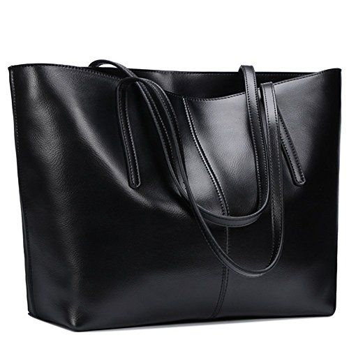 S-Zone Moda Mujer Bolso de Piel Bolso Bandolera Grande Tote Bolsas Negro