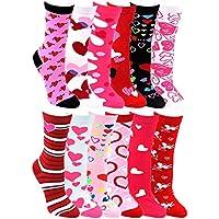 Corazón Print Crew Calcetines para mujer, 12pares día de San Valentín Rosa encanta patrón colorido de la novedad lindo regalo