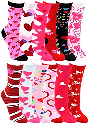 Heart Print Crew Socks for Women, 12 Pairs Valentines Day Pink Love Colorful Pattern Novelty Cute Gift (12 Pairs Assorted Heart Print Crew Socks) (Valentimes Gifts)