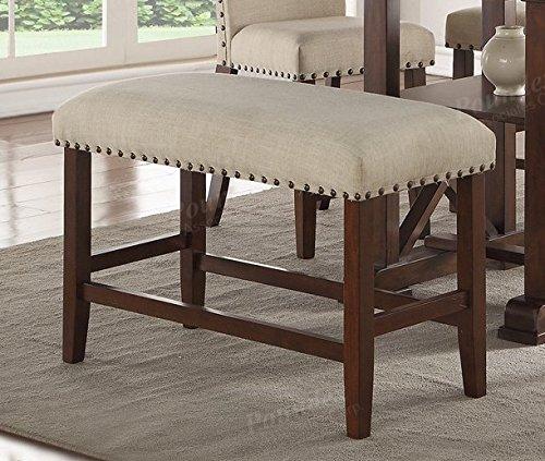 Wood Trim, Cream Seat Cushion 24''H Seat Bench by Advanced Furniture