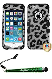 FoxyCase(TM) FREE stylus AND APPLE iPhone 5s Black Leopard (2D Silver) TUFF Hybrid Phone Protector Cover cas couverture