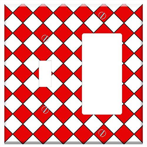 (1-Toggle 1-Rocker/GFCI Combination Wall Plate Cover - Background Diamonds Diamond Red White Texture )