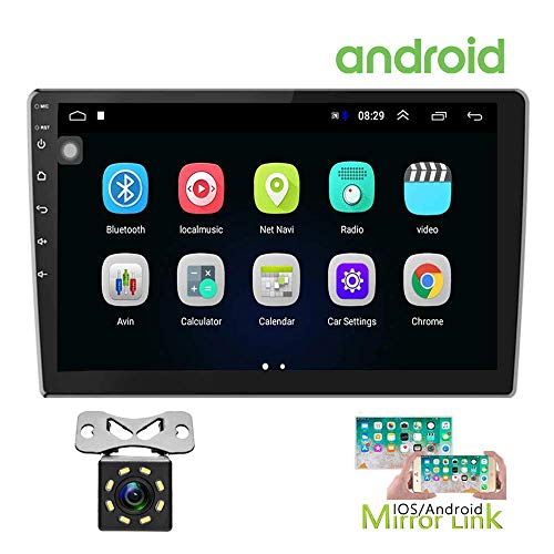 Hikity Double Din Android Car Stereo 10.1 Inch Touch Screen Radio Bluetooth WiFi GPS FM Radio Receiver Support Android iOS Phone Mirror Link with Dual USB Input 12 LEDs Backup Camera