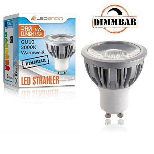 10er LED Einbaustrahler Set Chrom mit COB COB COB LED GU10 Markenstrahler von LEDANDO - 5W DIMMBAR - warmweiss - 40° Abstrahlwinkel - schwenkbar - 50W Ersatz - A+ - COB LED Spot 5 Watt - Einbauleuchte LED eckig c287e5