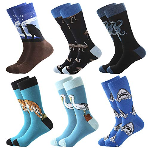 Bonangel Men's Fun Dress Socks - Colorful Funny Novelty Crazy Crew Socks Packs with Cool Argyle Pattern (Wolf 1)]()