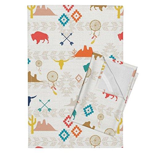 Roostery Southwest Buffalo Tribal Mountains Linen Aztec Geometric Tea Towels Southwest Nursery by Mrshervi Set of 2 Linen Cotton Tea Towels