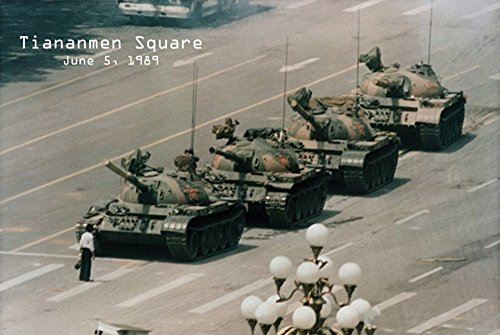 Black Wood Framed Poster / Print 24 X 36 Tiananmen Square Man Vrs Tank - Color Tank Man Tiananmen Square