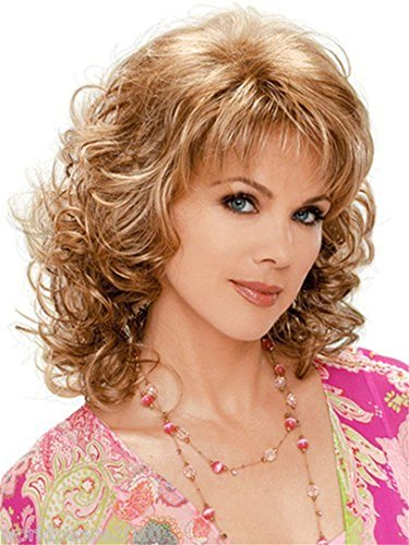 Long Curly layered Cut Synthetic wig Copper Brown mixed blonde 613 Highlights With bangs for ladies